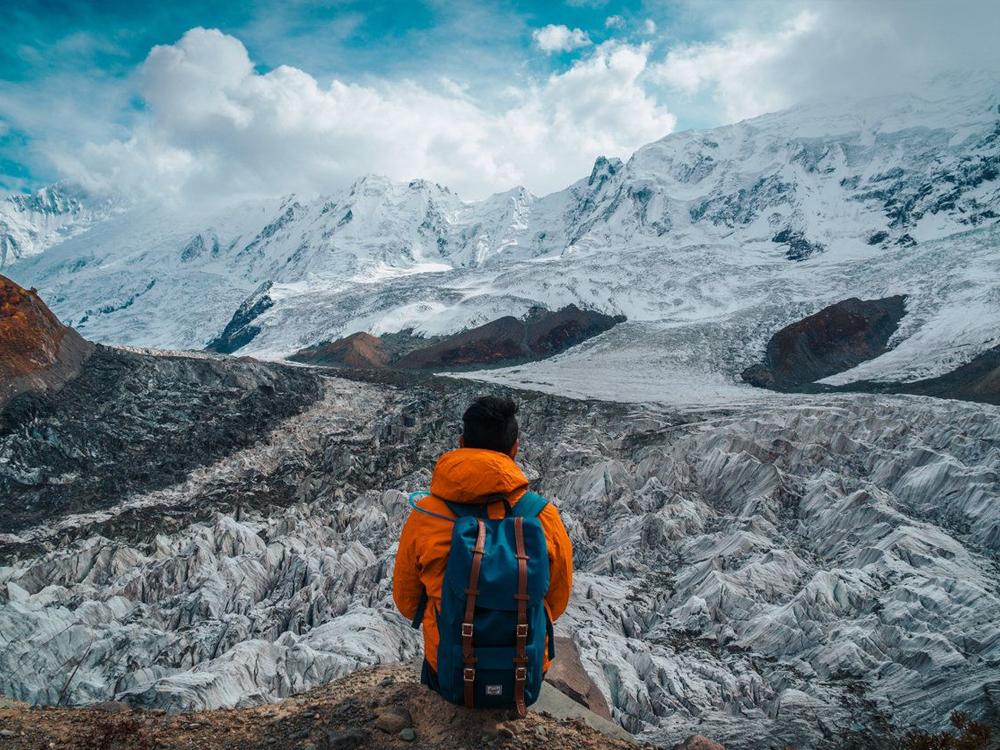 The snow-secured Rakaposhi mountain.