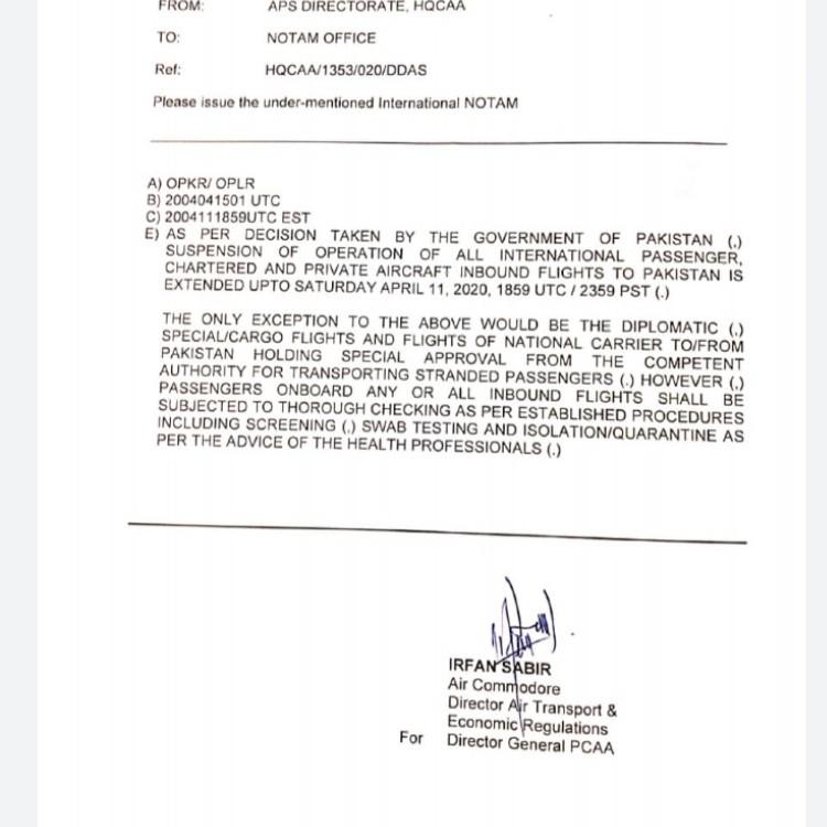 CAA notice
